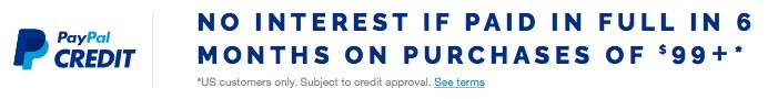 PayPal Credit banner promoting No Interest purchase if paid in full in 6 months